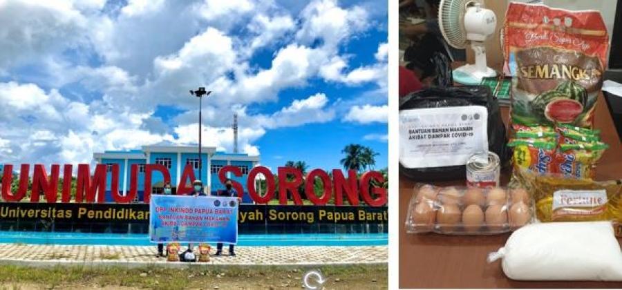 Pandemi Corona, DPP INKINDO Bagikan Bantuan Bahan Makanan Bekerjasama Dengan HMS UNIMUDA, UMS dan Poltekstpaul